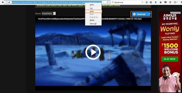 download One Piece episodes - Copy Video URL or Click Download Button