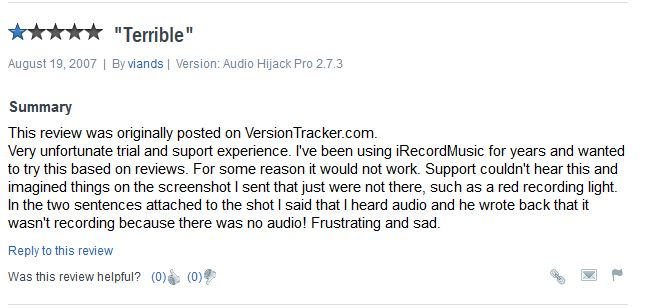 Audio Hijack for Mac-bad review