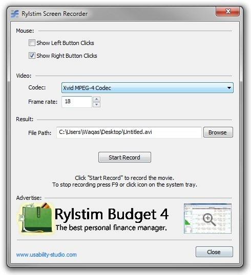 Record Video from Screen - Rylstim Screen Recorder