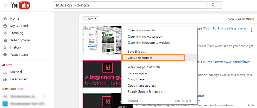 Download Indesign tutorial on Youtube-copy link