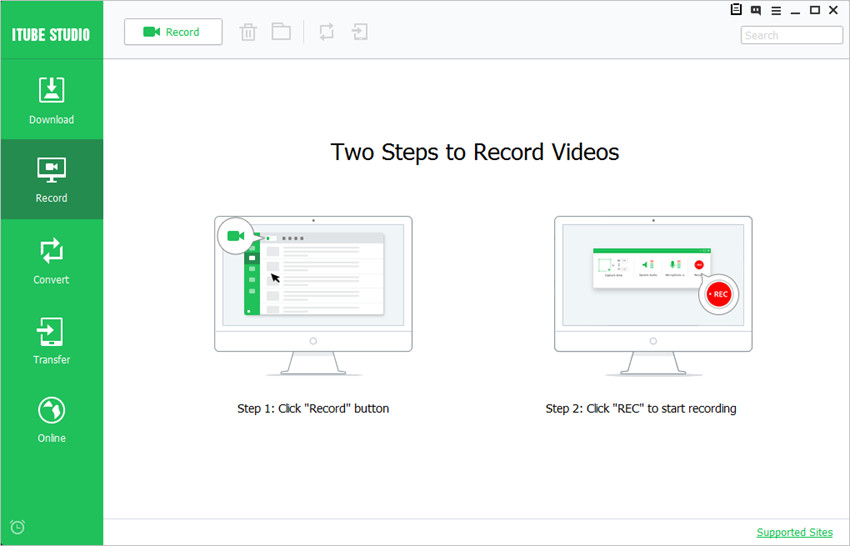 Download HTML 5 videos on mac or pc-click record video