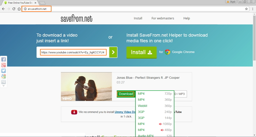 Steps to download YouTube link using SaveFrom