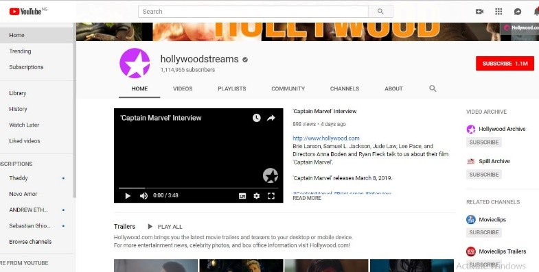 latest movie trailers on YouTube
