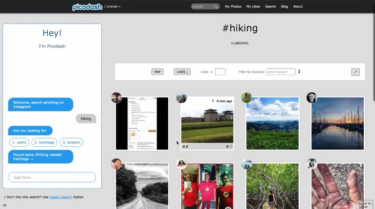 Search Photos in Instagram - Click on Hiking