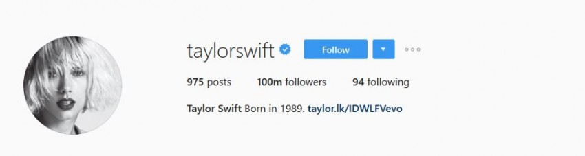 Most Followed Instagram Accounts - taylorswift