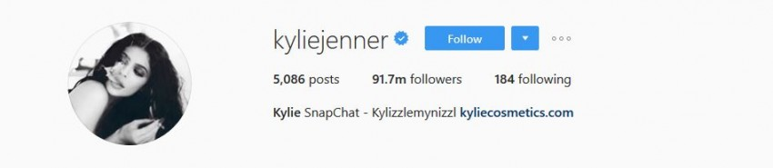 Most Followed Instagram Accounts - kyliejenner