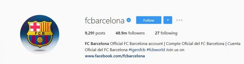 Most Followed Instagram Accounts - fcbarcelona