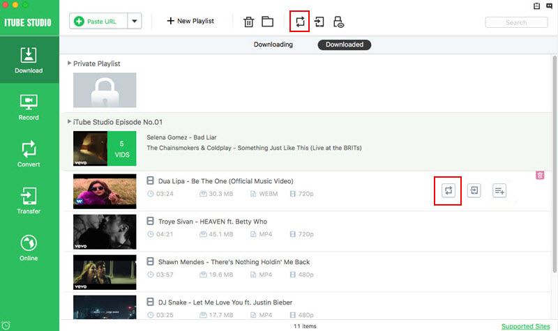 How to Download HD Youtube Videos with iTube Studio-Best Video Downloader for Mac-find the add to convert list menu