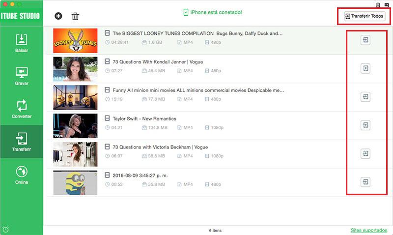 transferir vídeo youtube