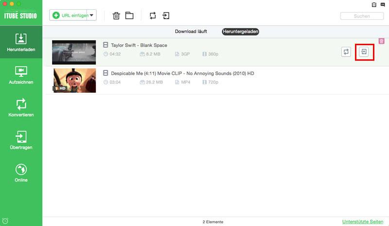 add downlaoded videos to transfer list