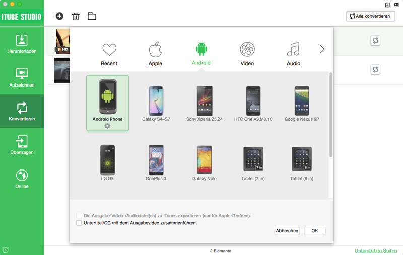convert video to android device
