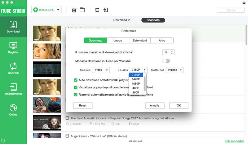 scaricare video di YouTube 1080P