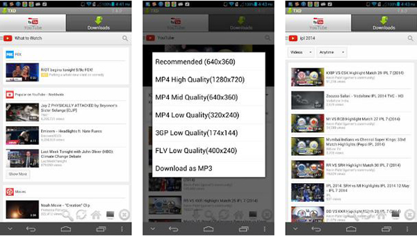 application android pour enregistrer youtube